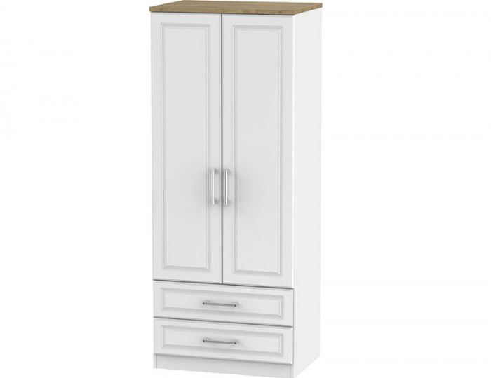 Winchester White Ash and Oak 2 Door 2 Drawer Wardrobe