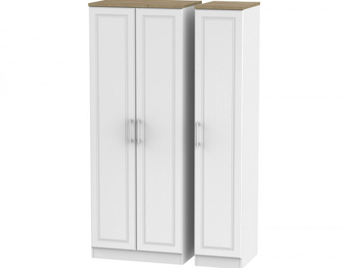 Winchester White Ash and Oak 3 Door Wardrobe