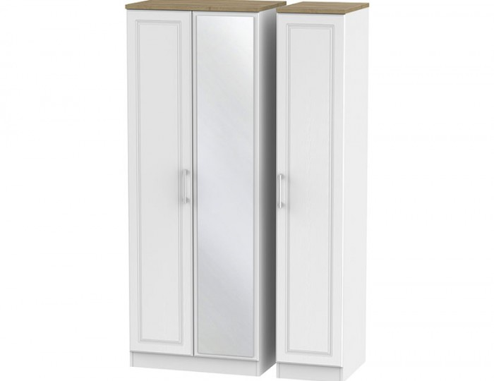 Winchester White Ash and Oak 3 Door Wardrobe with Mirror