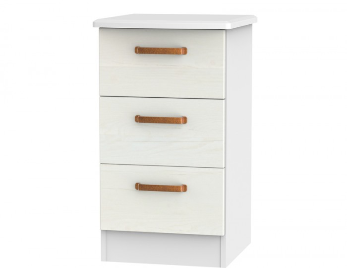 Castle White and Copper 3 Drawer Bedside Chest