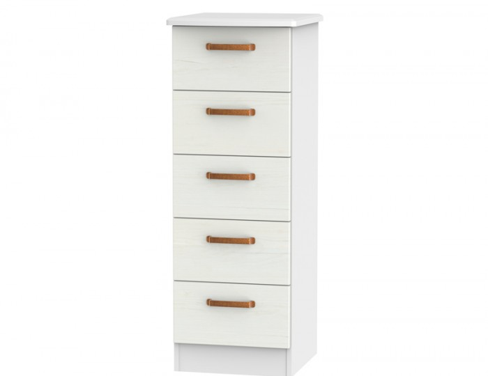 Castle White and Copper 5 Drawer Tallboy Chest