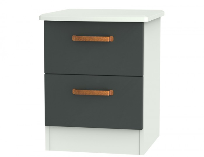 Castle Graphite and Copper 2 Drawer Bedside Chest