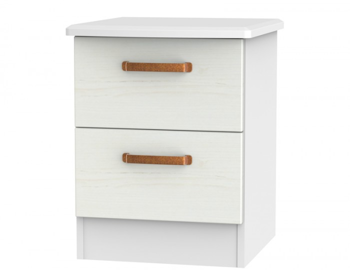 Castle White and Copper 2 Drawer Bedside Chest