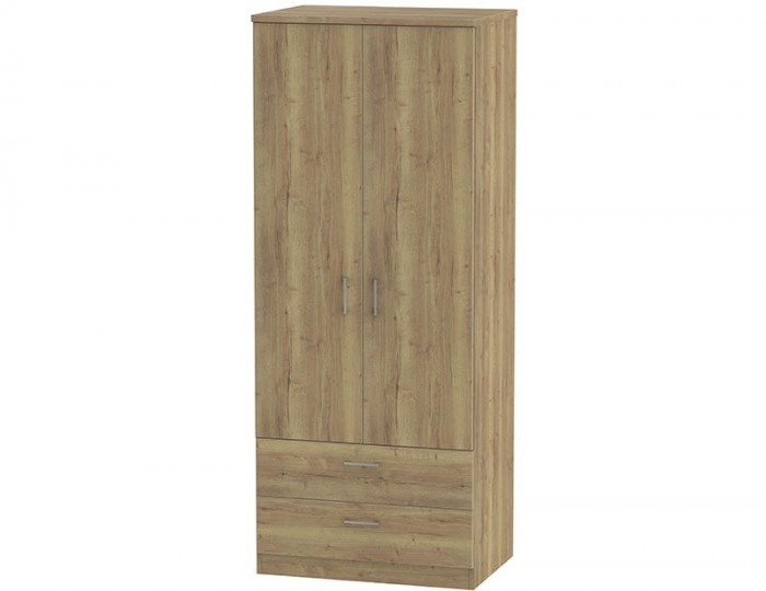 Devon Sterling Oak 2 Door 2 Drawer Wardrobe