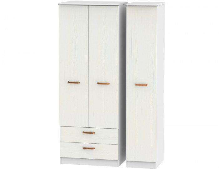 Castle White and Copper Tall Triple Combi Wardrobes