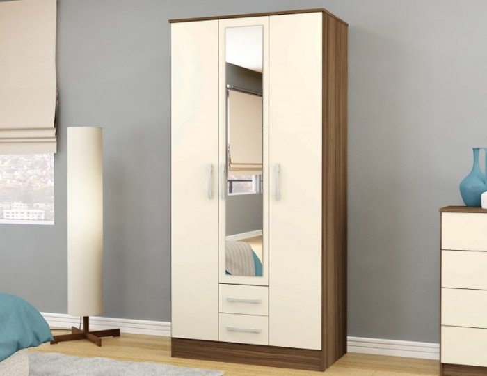 Laura 3 Door Combi Wardrobe with Mirror