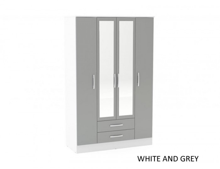 Laura 4 Door Combi Wardrobe with Mirror
