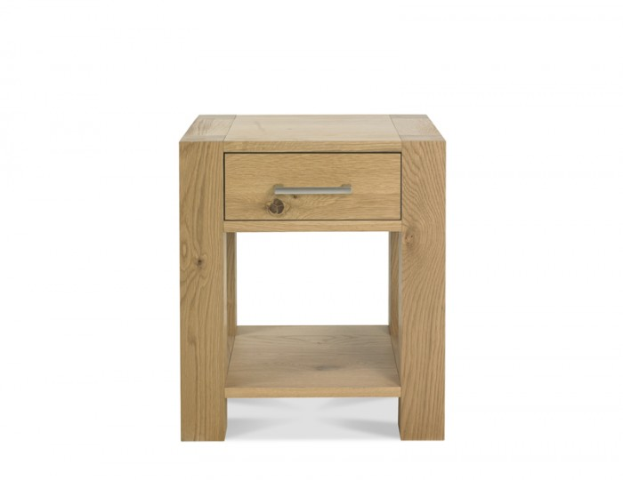 Ventura Light Oak Lamp Table with Drawer