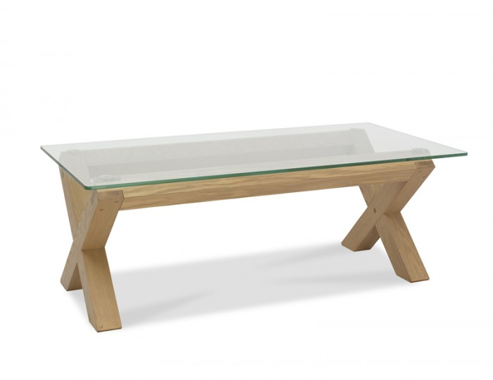 Ventura Light Oak and Glass Coffee Table