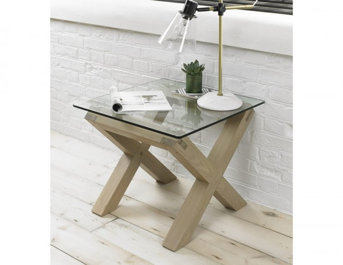 Ventura Light Oak and Glass Lamp Table