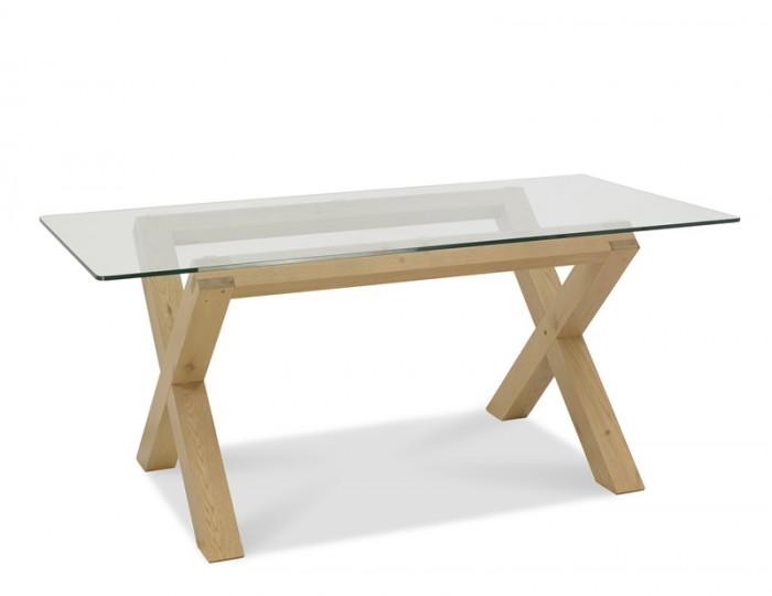 Ventura Light Oak and Glass Dining Table