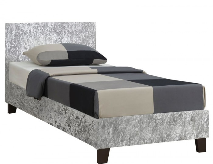 Alexa Steel Crushed Velvet Upholstered Bed Frame