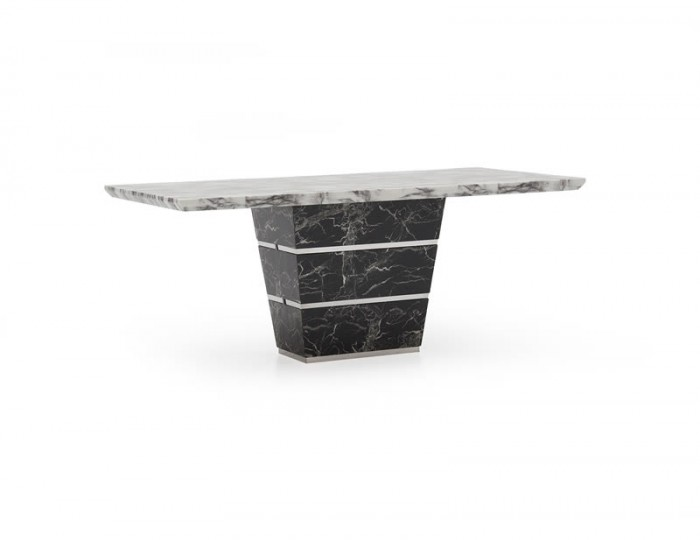 Valdina Medium Black and White Marble Dining Table