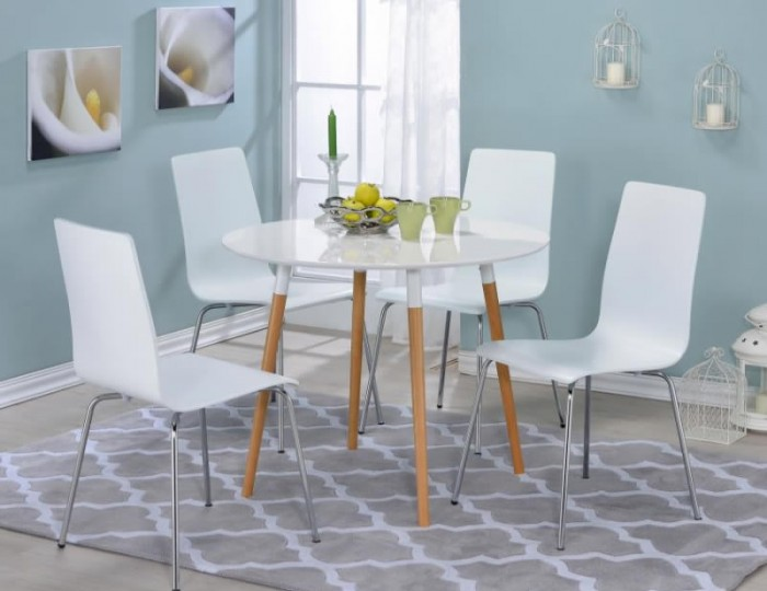 Swan Round White Breakfast Table and Chairs