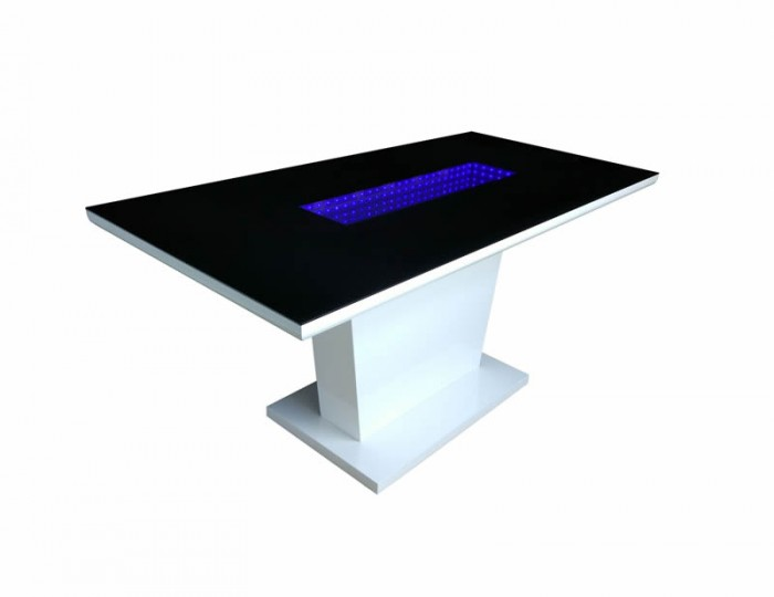 Data LED Black Glass and White High Gloss Dining Table