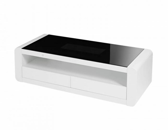 Data LED Black Glass and White High Gloss Coffee Table
