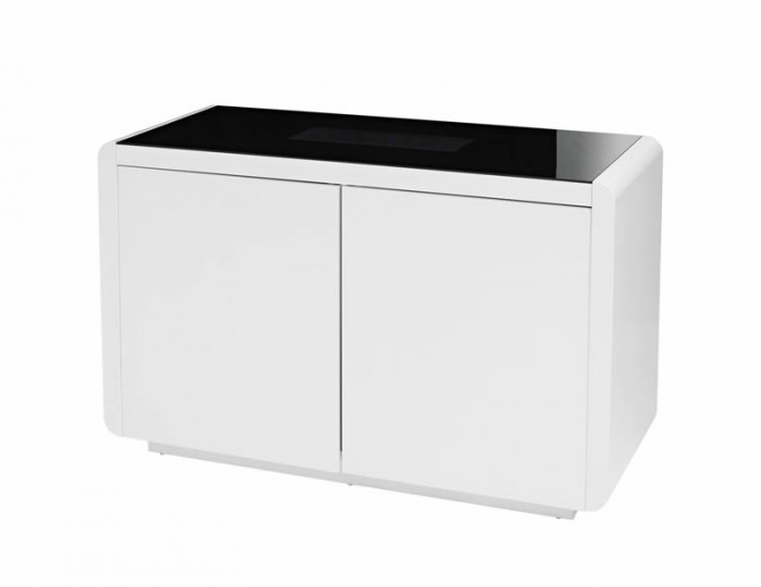 Data LED Black Glass and White High Gloss Sideboard