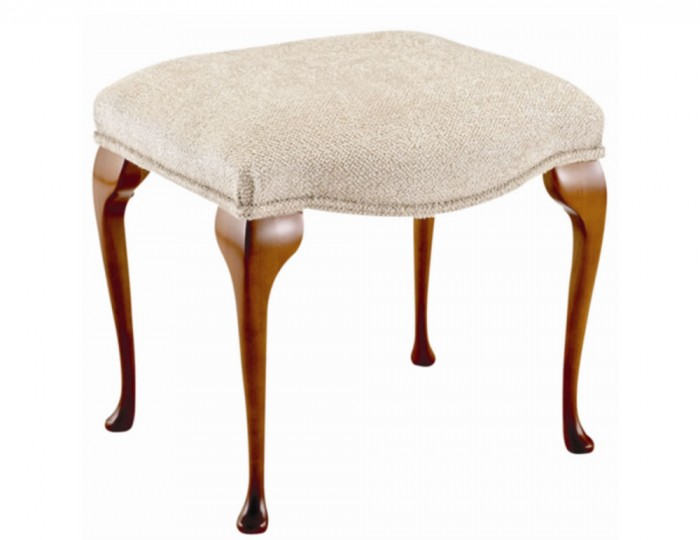 Serpentine Beige Fabric and Cherry Bedroom Stool *Special Offer*