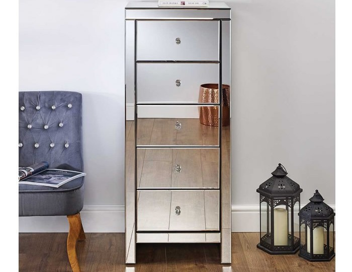 Giralda Mirrored 5 Drawer Narrow Chest
