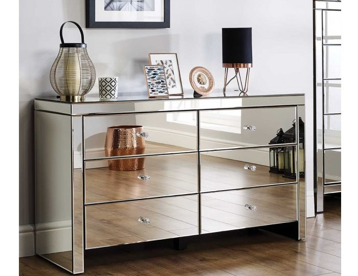 Giralda Mirrored 6 Drawer Wide Chest