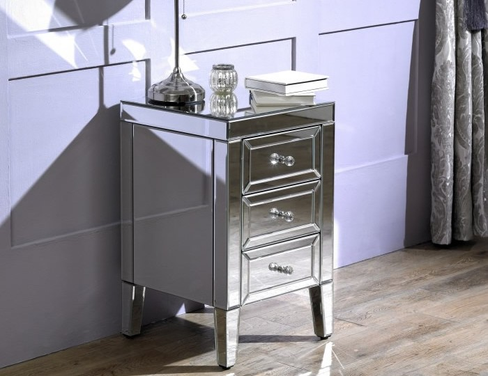 Valencia Mirrored 3 Drawer Bedside Chest