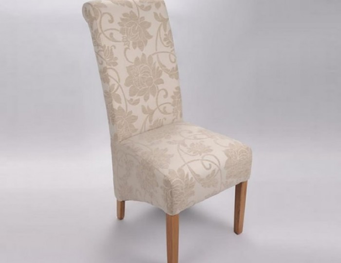 Vendi Cream Jacquard Floral Fabric Oak Dining Chair *Special Offer*