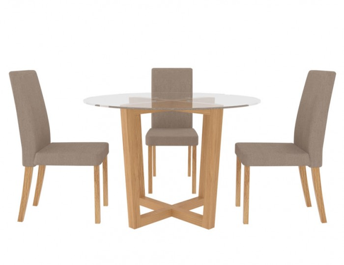 Zaragoza Glass and Oak Kitchen Table and Chairs