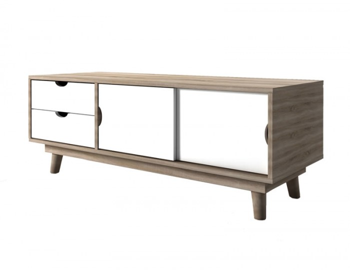 Scandi Oak Effect Two Door Two Drawer TV Stand