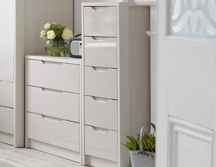 Affinity 5 Drawer White and Cream High Gloss Tallboy Chest *Special Offer*