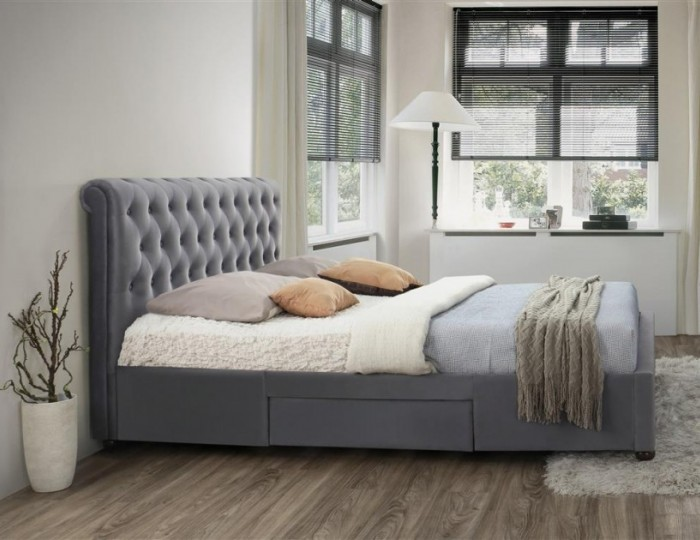 Rockwell Grey Velvet Storage Bed