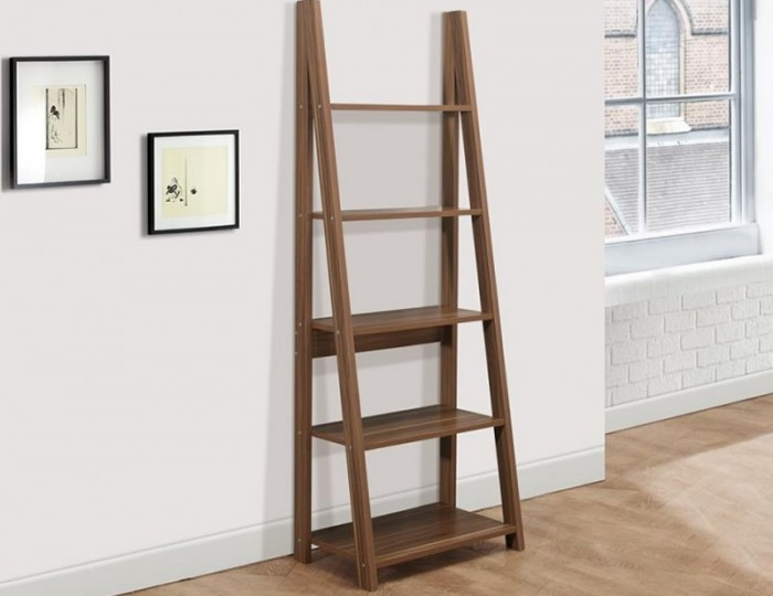 Nordic Walnut Ladder Bookcase