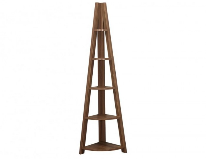 Nordic Walnut Corner Ladder Shelf Bookcase