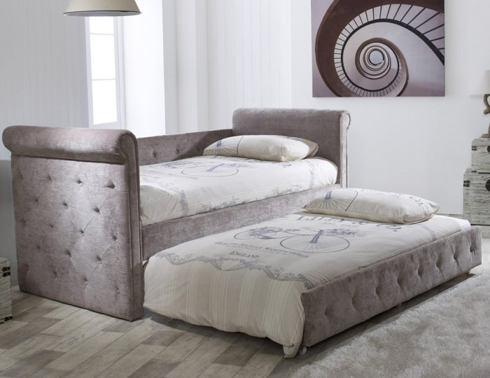 Zodiac 3ft Mink Velvet Upholstered Day Bed