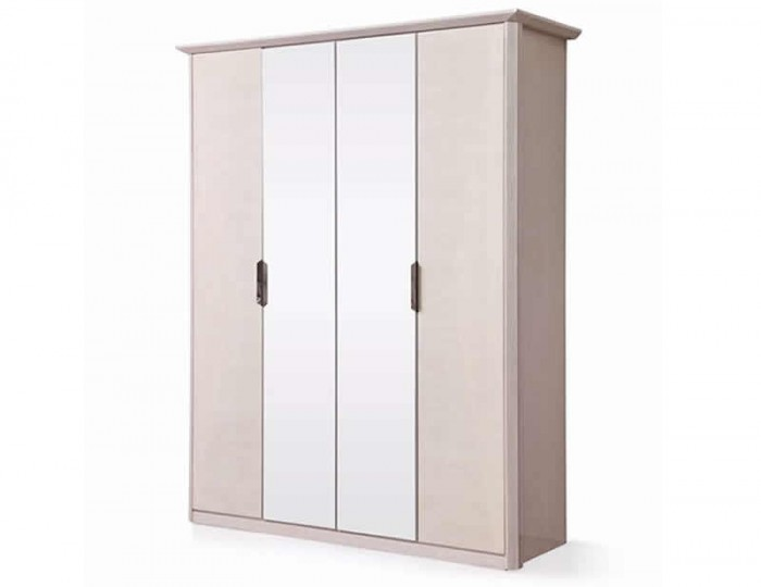 Lucia Soft Cream Walnut 4 Door Wardrobe