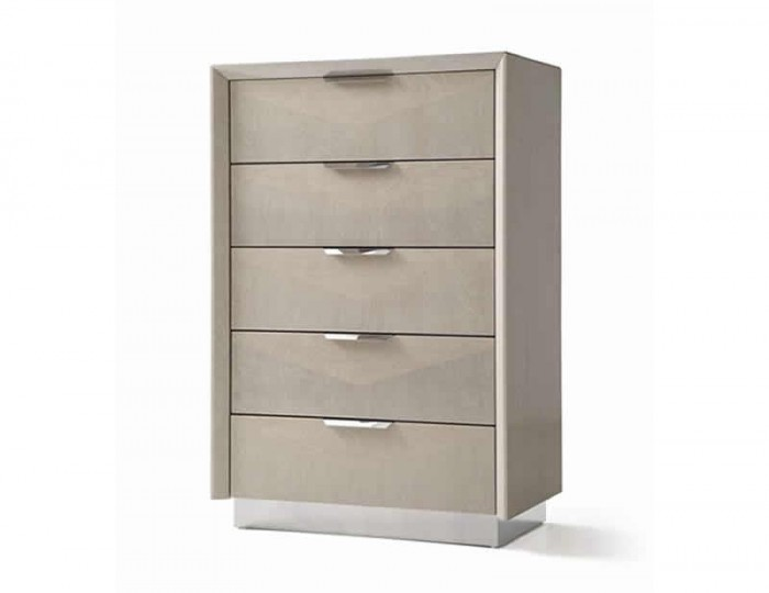 Lucia Soft Cream Walnut 5 Drawer Chest