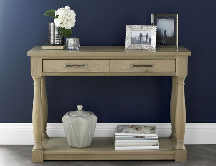 Chartreuse Aged Oak Console Table