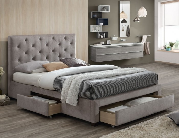 Claude Mink Velvet Upholstered Storage Bed Frame