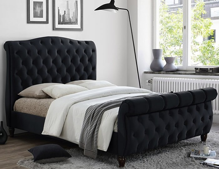 Colorado Black Velvet Upholstered Bed Frame