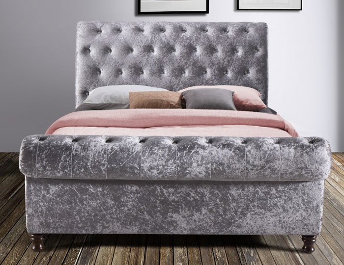 Francesco Steel Velvet Upholstered Bed Frame