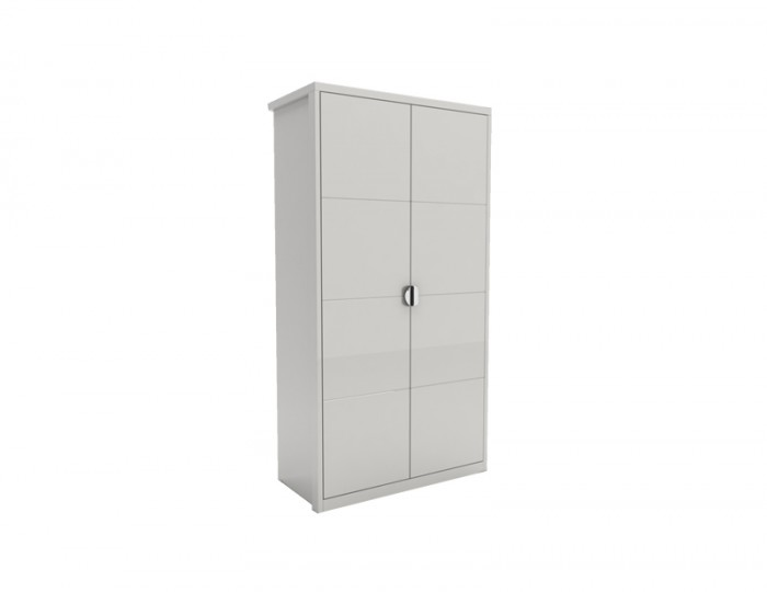 Patterson White High Gloss 2 Door Wardrobe