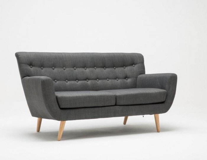 Adoni Grey 3 Seater Retro Sofa