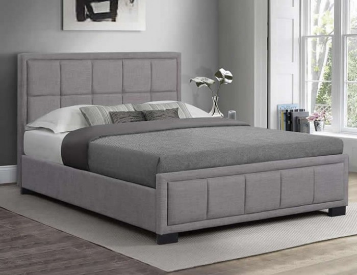 Lage Grey Upholstered Bed Frame