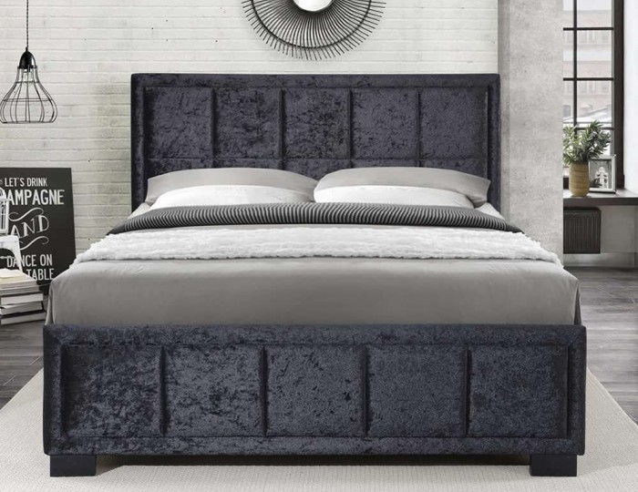 Lage Black Velvet Upholstered Bed Frame