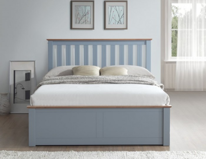 Livingston Hevea Stone Grey Ottoman Bed Frame