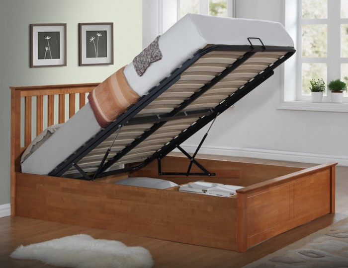 Livingston Hevea Oak Ottoman Bed Frame