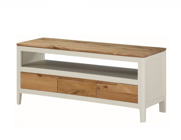 Dunmore Spanish White and Oak Large TV Unit