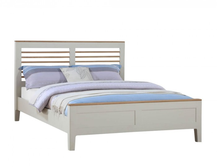 Dunmore Spanish White and Oak Bed Frame