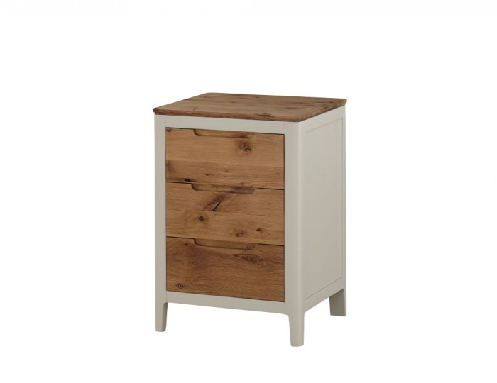 Dunmore Spanish White And Oak 3 Drawer Bedside Chest