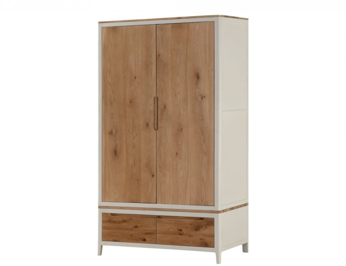 Dunmore Spanish White and Oak 2 Door 2 Drawer Wardrobe