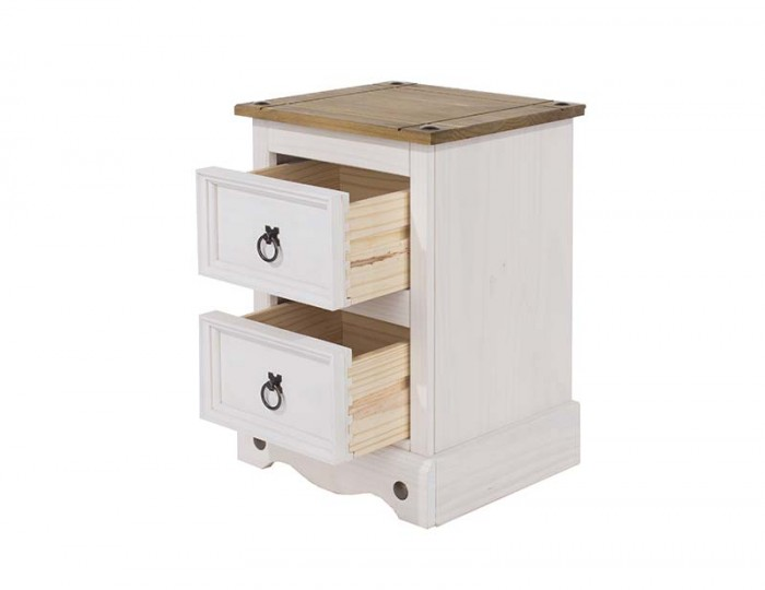 Estrella White 2 Drawer Bedside Chest